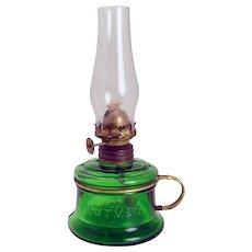 Nutmeg Green Miniature Oil Finger Lamp - 1890's