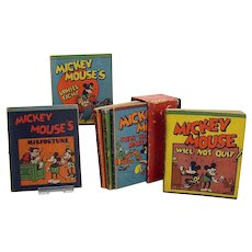 Early Set of Mickey Mouse Lithographed Miniature Books - 1930's