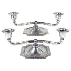 Pair of Signed Roycroft Silver Plated Double-Arm Candle Holders