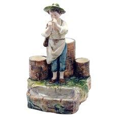 Majolica Figural Smoking Stand