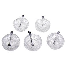 Set of Five Cut Glass Salts with Silver Spoons