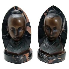 Bronze and Marble Asian Bookends - 1920's