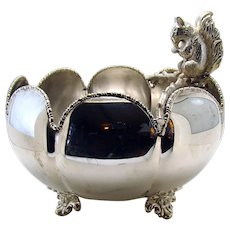 Silver Plated Victorian Bowl with Squirrel - 1890's