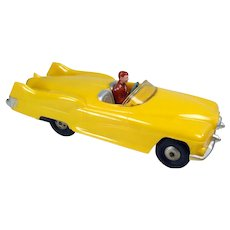 Marx Hard Plastic Yellow Car Friction Toy with Driver - Near Mint