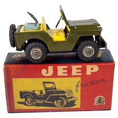 Tin Jeep Friction Toy - Mint in Box