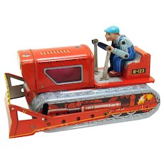 Tin Construction Tractor Friction Toy - Japan
