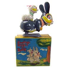 Tin Jumping Rabbit with Baby Wind-up Toy - Mint in box