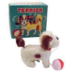 Alps Terrier with Ball Wind-up Toy - Mint in box