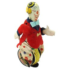 Tin Clown on Unicycle Wind-up Toy - Japan