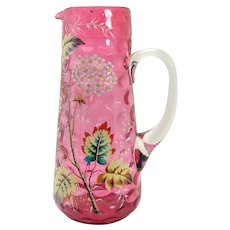 Cranberry Inverted Thumbprint Enameled Glass Pitcher