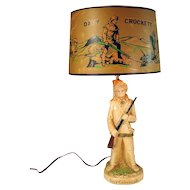 Davy Crockett Electric Table Lamp - 1950's - 100% Complete