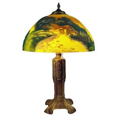 Charles Parker Reverse-Painted Scenic Electric Table Lamp - 1915