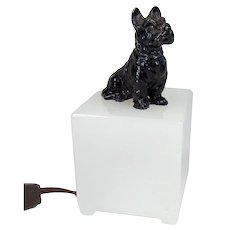 Night Light with Scottish Terrier on Camphor Glass Base - 1920's
