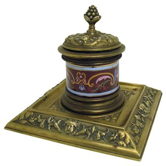 Early Brass and Porcelain Inkwell - 1875