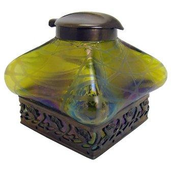 Art Nouveau Iridescent Art Glass Inkwell - 1890's