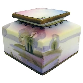 Hand-Painted Nippon Porcelain Inkwell