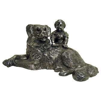 Signed Wilcox Silver Plated Dog Inkwell with Glass Eyes - 1900's