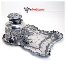 Signed Silver Plated Derby Inkwell and Tray - 1890's