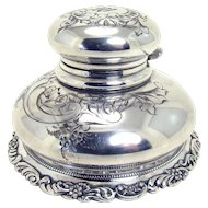 Incised Silver Plated Derby Inkwell - 1890's