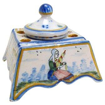 Signed Quimper Ceramic Inkwell - 1890's