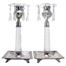 Signed Eureka Cut Glass and Silver Plated Candle Holders
