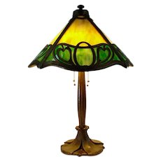 Signed Bradley & Hubbard Arts & Crafts Table Lamp - 100% Original