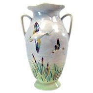 Art Pottery Vase with Ducks - Made in England