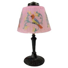 Signed Pittsburgh Table Lamp with Reverse-Painted Shade