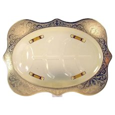 Art Glass Amber Meat Tray with Gold Overlay