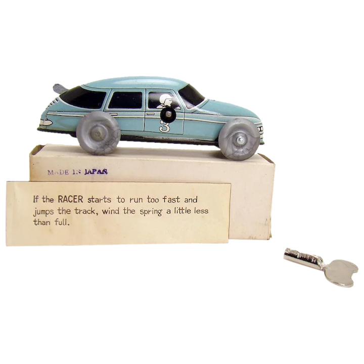 Blue Race Car Wind Up Toy With Instructions And Original Key Mint