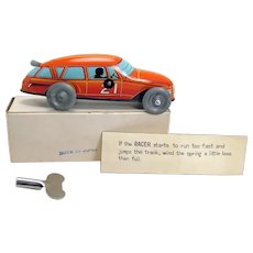 Orange Race Car Wind-up Toy with Instructions and Original Key - Mint in Box