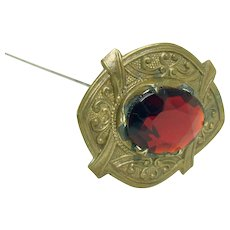 Victorian Hat Pin with Deep Red Faceted Jeweled Stone - 1880's