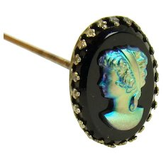 Victorian Hat Pin with Cameo Button - 1890's