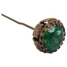 Victorian Hat Pin with Faceted Emerald-colored Jewel