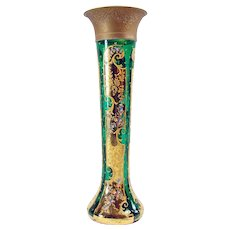 Moser Enameled Glass Vase with Ormolu Mounted Top