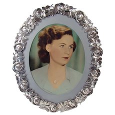 Silver Plated Rose Bordered Picture Frame - 1930's