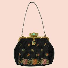 Satin Purse with Cabochon, Rhinestone and Petit Point Design - 1920's
