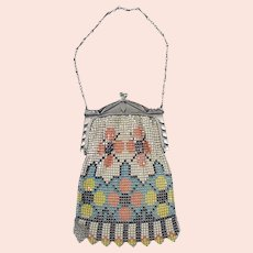 Art Deco Enameled Silver Plated Mesh Purse - Whiting & Davis