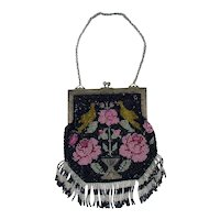 Beaded Mesh Bag with Birds and Flowers