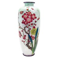 Japanese Ginbari Cloisonne Floral Vase - Early 1900's