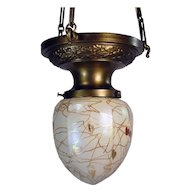Steuben heart and vine Art Glass Pendant Lamp