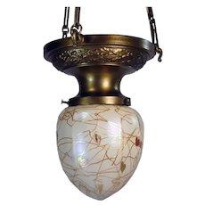 Steuben heart and vine Art Glass Pendant Lamp