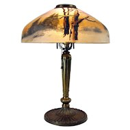 Signed Pittsburgh Reverse and Obverse-Painted Table Lamp