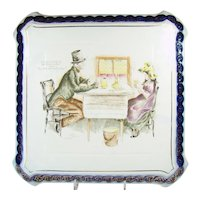 Large Flow Blue Charles Dickens Wall Plaque