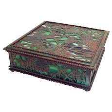 Signed Tiffany Grapevine Bronze Dresser Box