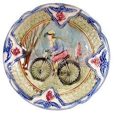 Rare Majolica Plate with Bicyclist