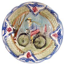 Rare Majolica Plate with Bicyclist