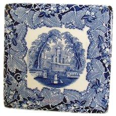 Mason's Blue-on-White Ceramic Hot Plate