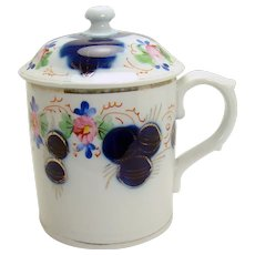 Gaudy Welsh Handled Porcelain Mug with Lid - 1870's