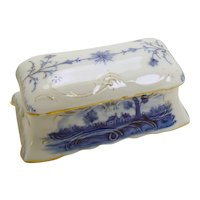 Blue on White Porcelain Covered Stamp Holder with Gold Tracery